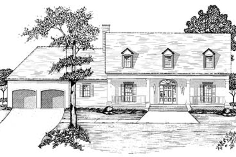 Southern Style House Plan - 3 Beds 4.5 Baths 3743 Sq/Ft Plan #36-241 Exterior - Front Elevation