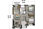 Contemporary Style House Plan - 2 Beds 1 Baths 892 Sq/Ft Plan #25-4405 Floor Plan - Main Floor Plan