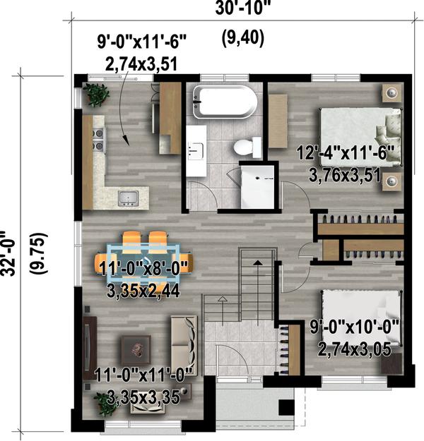 Contemporary Floor Plan - Main Floor Plan Plan #25-4405