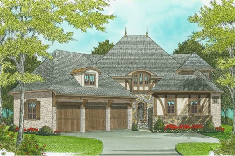 European Style House Plan - 4 Beds 3.5 Baths 3974 Sq/Ft Plan #413-819 Exterior - Front Elevation