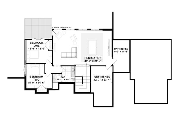 Ranch Floor Plan - Lower Floor Plan #928-348