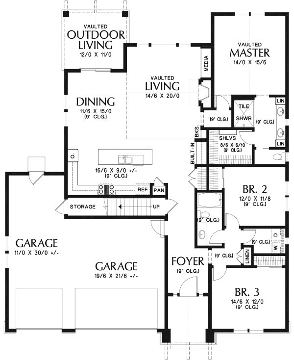 Dream House Plan - Ranch Floor Plan - Main Floor Plan #48-948