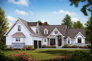 Architectural House Design - Craftsman Exterior - Front Elevation Plan #54-388