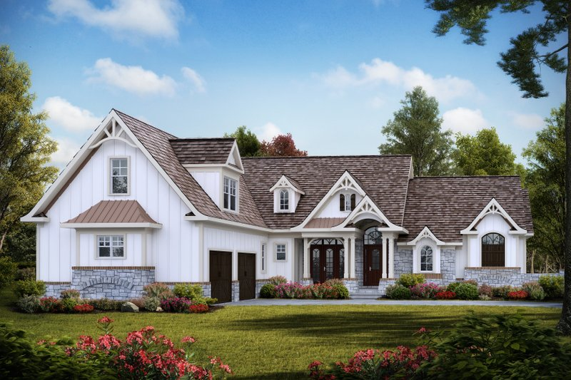 Craftsman Style House Plan - 3 Beds 3.5 Baths 2795 Sq/Ft Plan #54-388 Exterior - Front Elevation