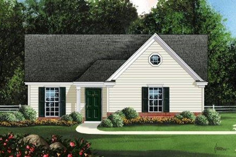 Traditional Style House Plan - 3 Beds 2 Baths 1078 Sq/Ft Plan #424-238