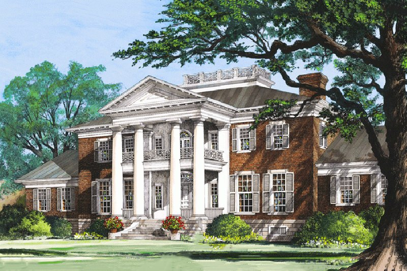Classical Style House Plan - 5 Beds 6 Baths 10735 Sq/Ft Plan #137-211 Exterior - Front Elevation