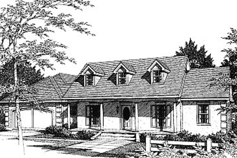 European Style House Plan - 3 Beds 2.5 Baths 1843 Sq/Ft Plan #14-115 Exterior - Front Elevation