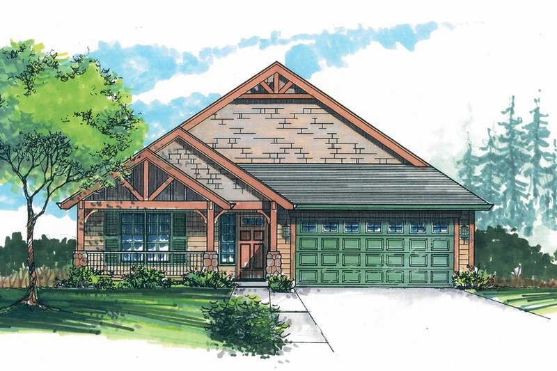 Craftsman Style House Plan - 3 Beds 2 Baths 1371 Sq/Ft Plan #53-462 Exterior - Front Elevation