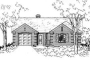 Ranch Style House Plan - 3 Beds 2 Baths 1374 Sq/Ft Plan #141-175 Exterior - Front Elevation