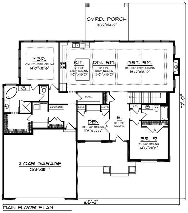 Architectural House Design - Ranch Floor Plan - Main Floor Plan #70-1464