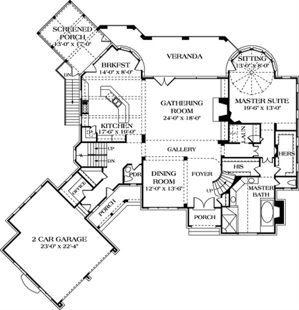 European Floor Plan - Main Floor Plan Plan #453-51