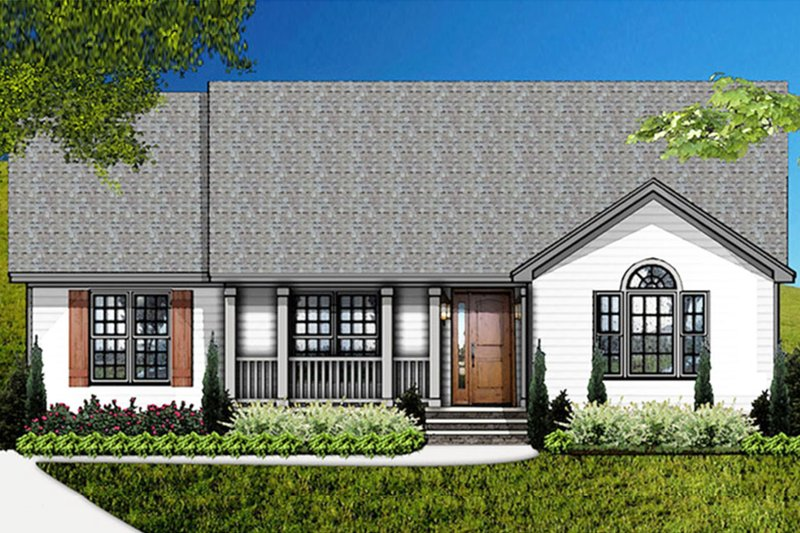 Country Exterior - Front Elevation Plan #977-3