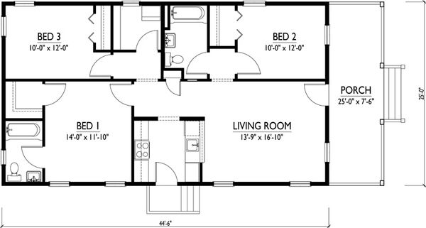 Cottage Floor Plan - Main Floor Plan Plan #514-15