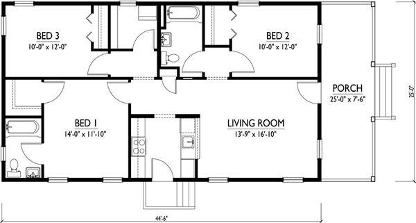 Cottage Floor Plan - Main Floor Plan #514-15