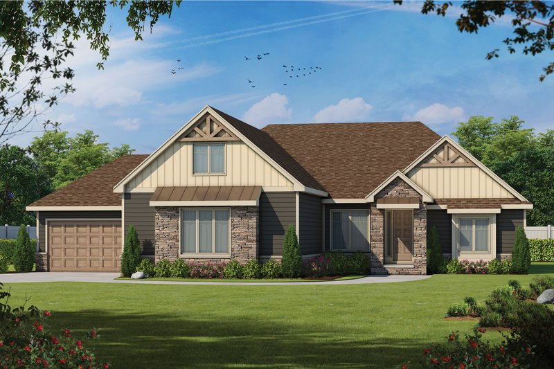 Craftsman Style House Plan - 4 Beds 4 Baths 3918 Sq/Ft Plan #20-2369 Exterior - Front Elevation