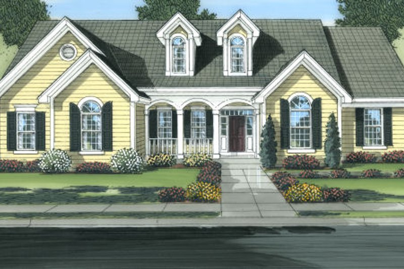 Cottage Exterior - Front Elevation Plan #46-449