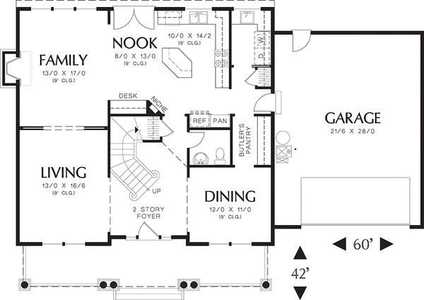 Traditional style house plan 48-105, main level floor plan