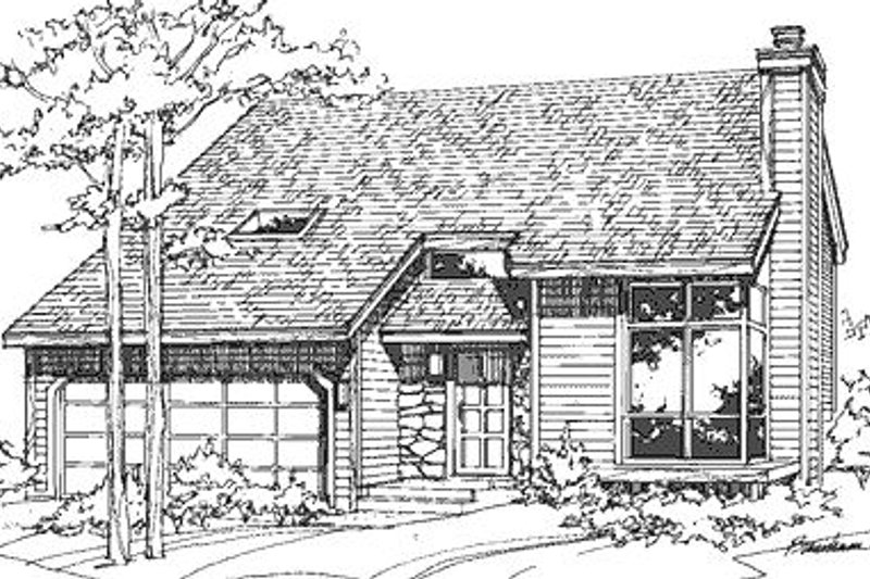 Modern Style House Plan - 2 Beds 2.5 Baths 1701 Sq/Ft Plan #320-430 Exterior - Front Elevation