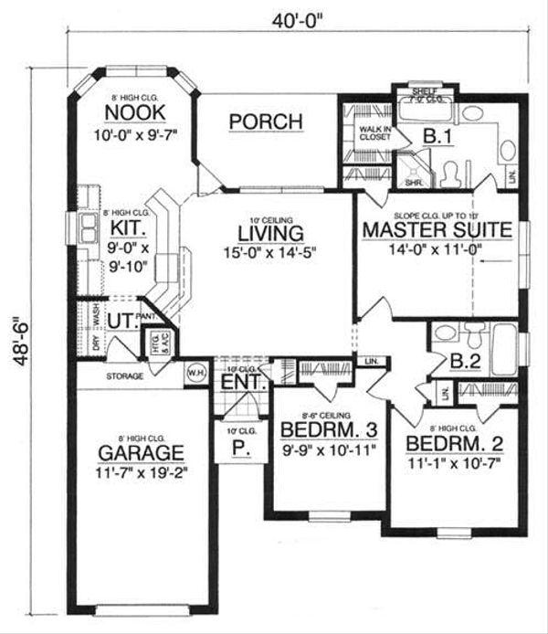 House Plan Design - Traditional Floor Plan - Main Floor Plan #40-282