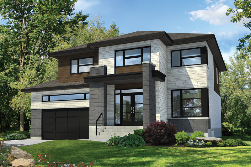 Contemporary Style House Plan - 3 Beds 2.5 Baths 2575 Sq/Ft Plan #25-4481 Exterior - Front Elevation