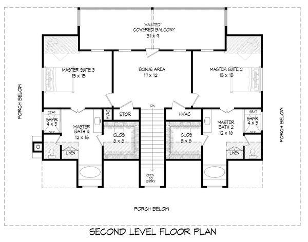 Country Floor Plan - Upper Floor Plan #932-168