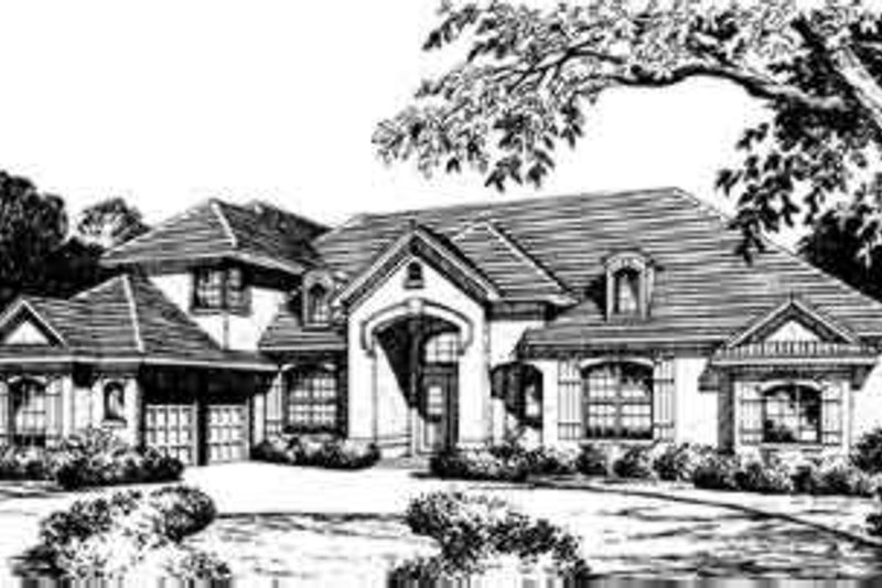 European Style House Plan - 3 Beds 4 Baths 2853 Sq/Ft Plan #135-128 Exterior - Front Elevation
