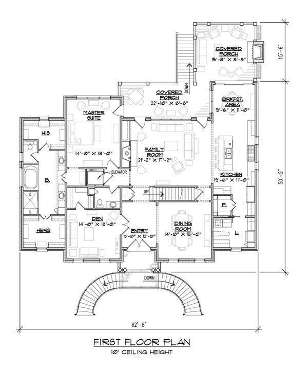 Classical Floor Plan - Main Floor Plan #1054-52