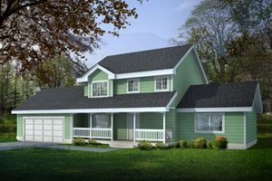 Country Exterior - Front Elevation Plan #100-419