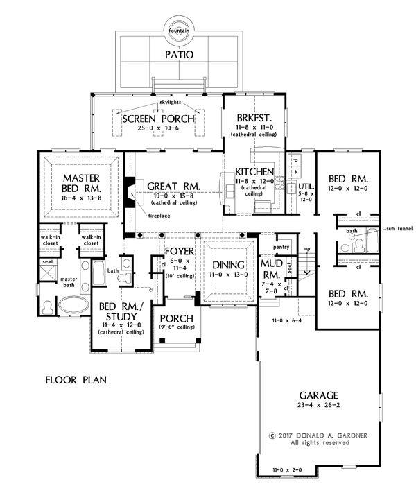 Craftsman Floor Plan - Main Floor Plan Plan #929-1047