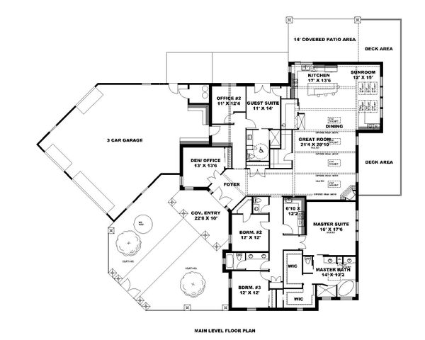 Ranch Floor Plan - Main Floor Plan Plan #1010-249