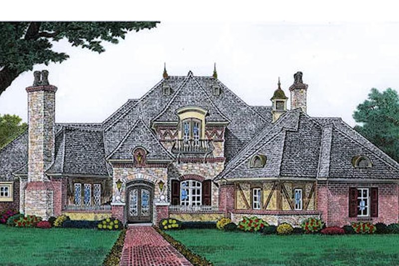 European Style House Plan - 4 Beds 4.5 Baths 4214 Sq/Ft Plan #310-683 Exterior - Front Elevation