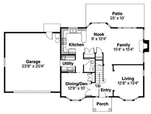 Colonial Floor Plan - Main Floor Plan Plan #124-715