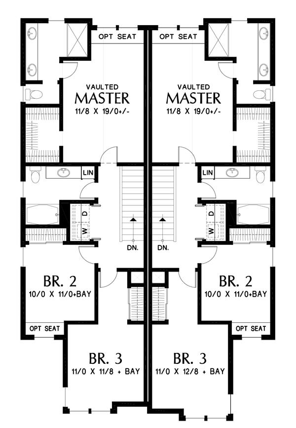 Craftsman Floor Plan - Upper Floor Plan #48-1017