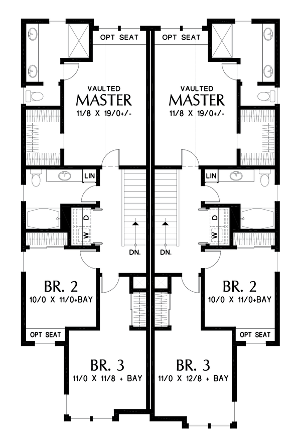 Craftsman Floor Plan - Upper Floor Plan Plan #48-1017