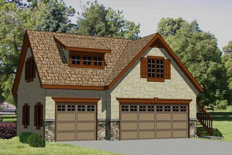 Traditional Style House Plan - 1 Beds 1 Baths 560 Sq/Ft Plan #116-131 Exterior - Front Elevation