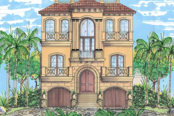 Mediterranean Exterior - Front Elevation Plan #548-9