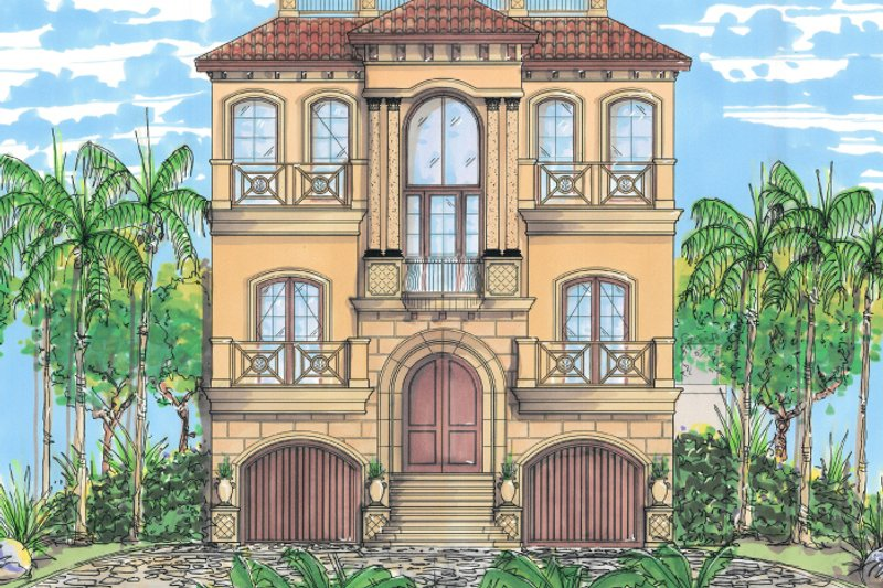 Mediterranean Style House Plan - 3 Beds 3.5 Baths 2664 Sq/Ft Plan #548-9 Exterior - Front Elevation