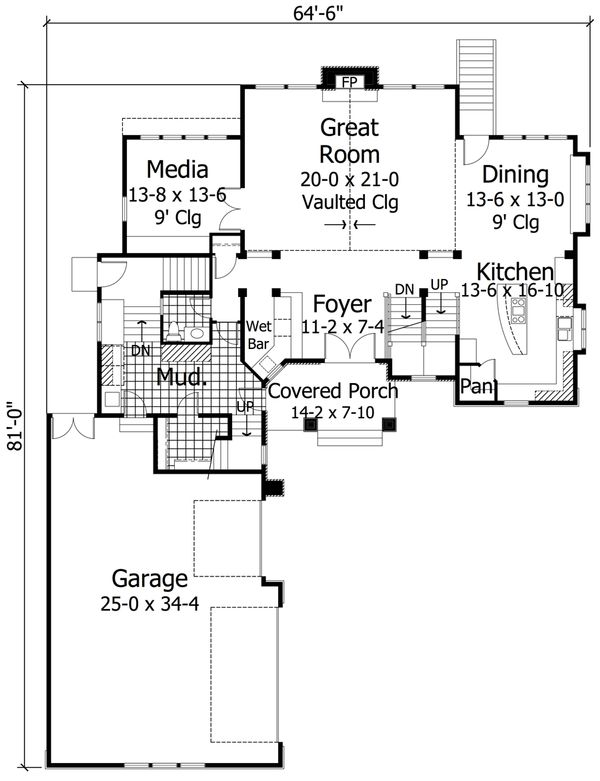 Craftsman Floor Plan - Main Floor Plan Plan #51-574