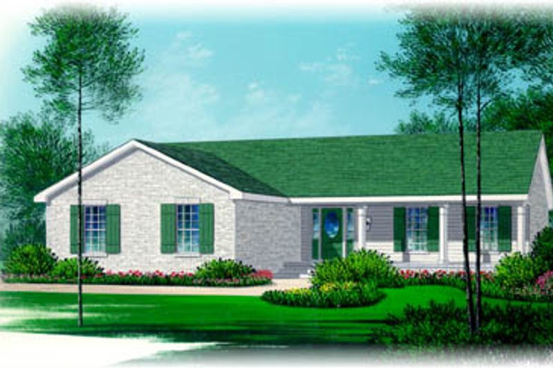 Ranch Style House Plan - 3 Beds 2 Baths 1361 Sq/Ft Plan #15-138 Exterior - Front Elevation