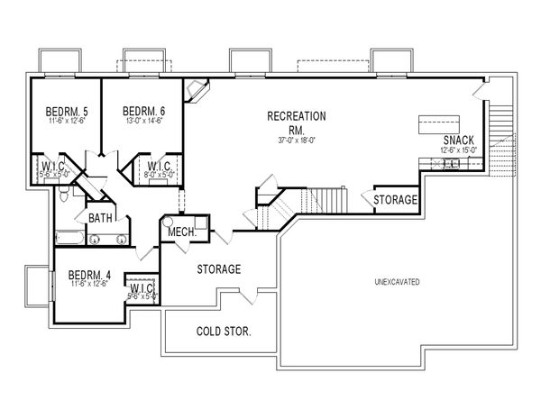 Craftsman Floor Plan - Lower Floor Plan Plan #920-22