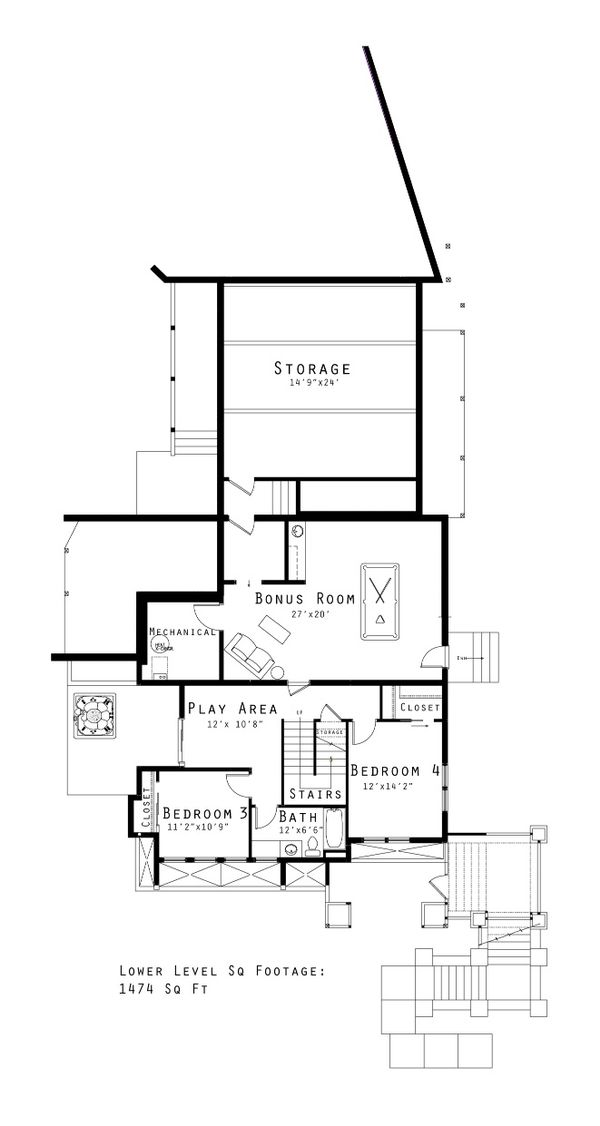 Prairie Floor Plan - Lower Floor Plan Plan #434-20
