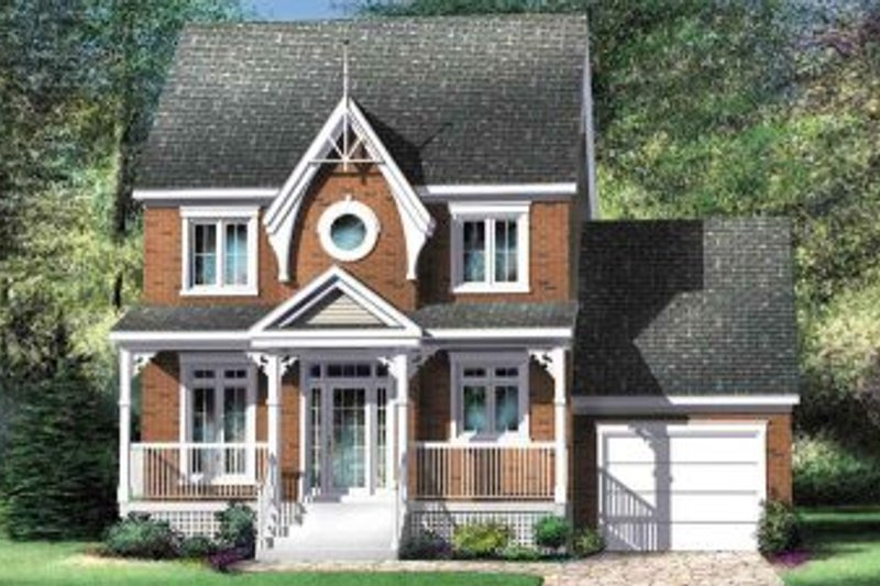 European Style House Plan - 3 Beds 1.5 Baths 1280 Sq/Ft Plan #25-4143 Exterior - Front Elevation