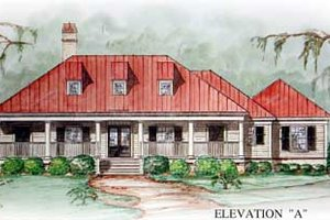 Southern Exterior - Front Elevation Plan #54-102