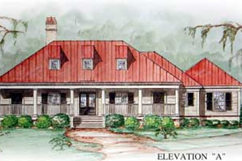 Southern Style House Plan - 3 Beds 2 Baths 2106 Sq/Ft Plan #54-102 Exterior - Front Elevation