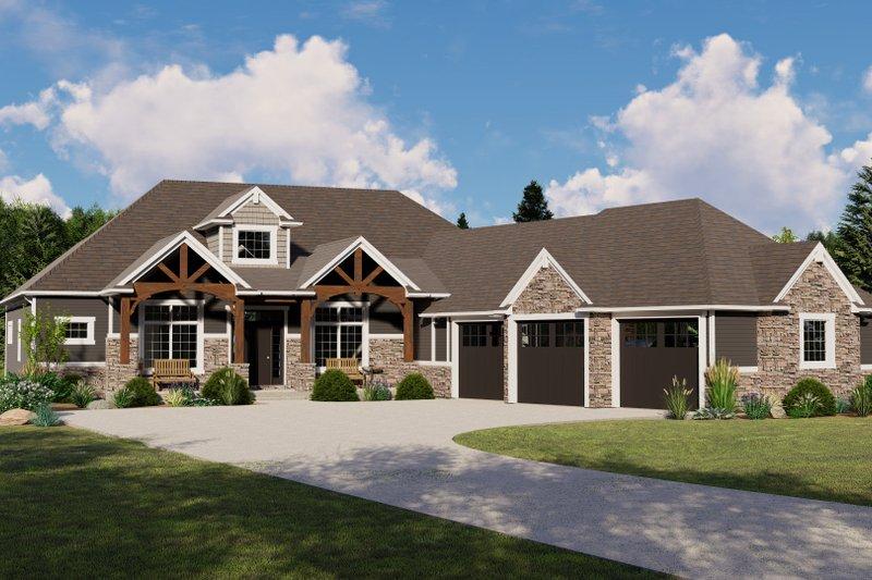 Architectural House Design - Craftsman Exterior - Front Elevation Plan #1064-68