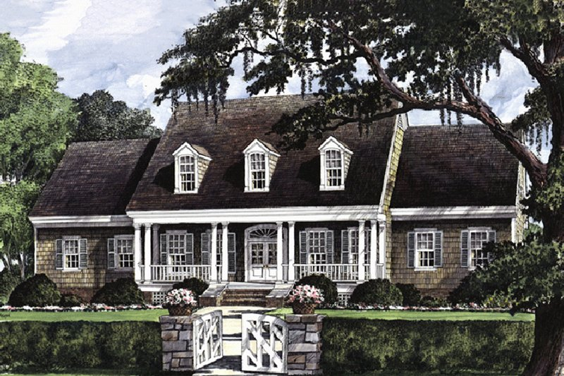 Southern Exterior - Front Elevation Plan #137-152 - Houseplans.com