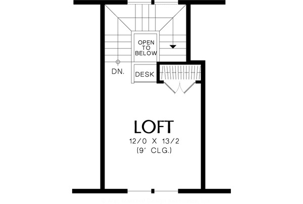 Upper Floor Plan - 950 square foot Craftsman Cottage