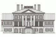 Classical Style House Plan - 5 Beds 6 Baths 10735 Sq/Ft Plan #137-211 Exterior - Rear Elevation
