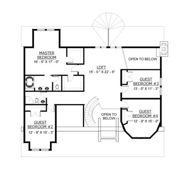 Traditional Floor Plan - Upper Floor Plan Plan #524-11