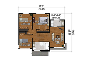 Contemporary Style House Plan - 3 Beds 1.5 Baths 1662 Sq/Ft Plan #25-4876 Floor Plan - Upper Floor